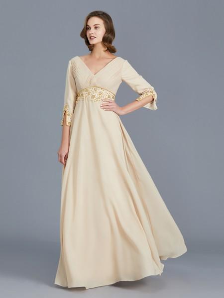 A-Line/Princess V-neck Ruffles Chiffon Sleeveless Floor-Length Mother of the Bride Dresses