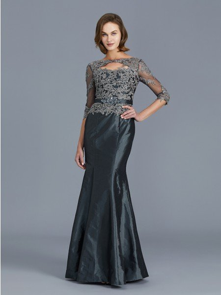 Trumpet/Mermaid Scoop 3/4 Sleeves Applique Floor-Length Taffeta Mother of the Bride Dresses