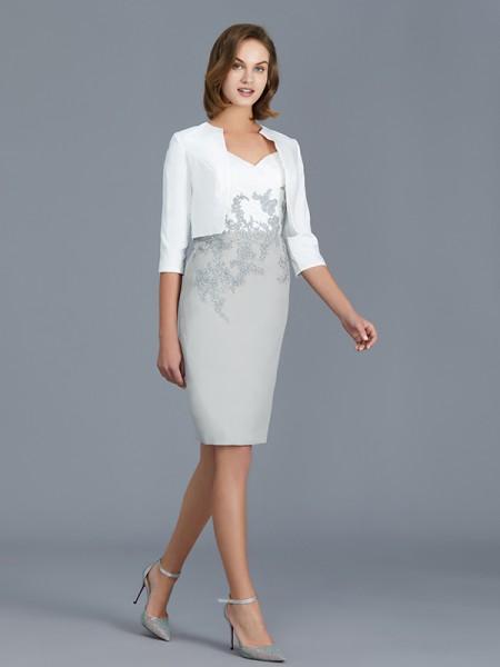 Sheath/Column V-neck 1/2 Sleeves Ruffles Chiffon Knee-Length Mother of the Bride Dresses
