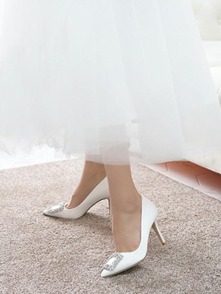 Women's Satin Closed Toe Stiletto Heel High Heels
