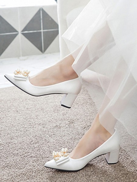 Women's Satin Closed Toe With Beading Chunky Heel High Heels