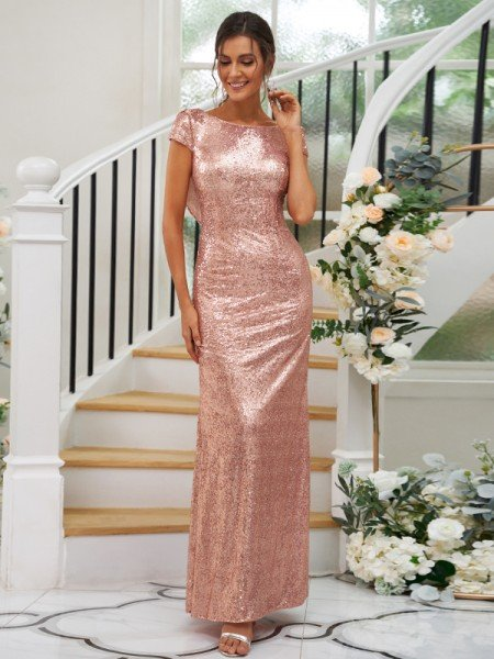 Sheath/Column Sequins Ruched Scoop Short Sleeves Floor-Length Bridesmaid Dresses