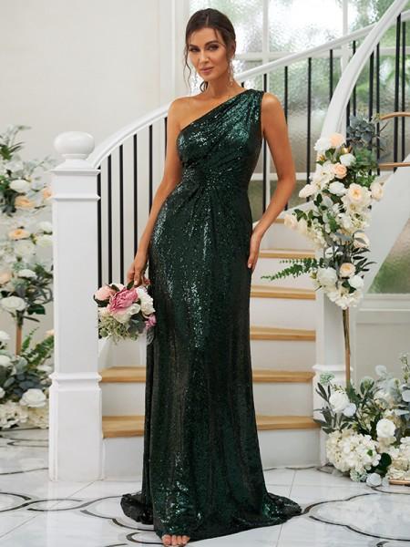 Sheath/Column Sequins Ruched One-Shoulder Sleeveless Sweep/Brush Train Bridesmaid Dresses