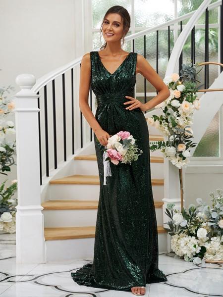 Sheath/Column Sequins Ruched V-neck Sleeveless Sweep/Brush Train Bridesmaid Dresses
