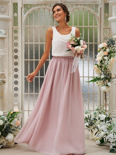 A-Line/Princess Chiffon Ruffles Scoop Sleeveless Floor-Length Bridesmaid Dresses