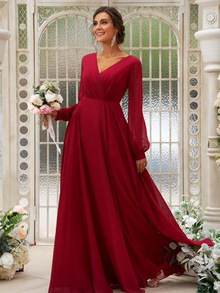 A-Line/Princess Chiffon Ruched V-neck Long Sleeves Floor-Length Bridesmaid Dresses