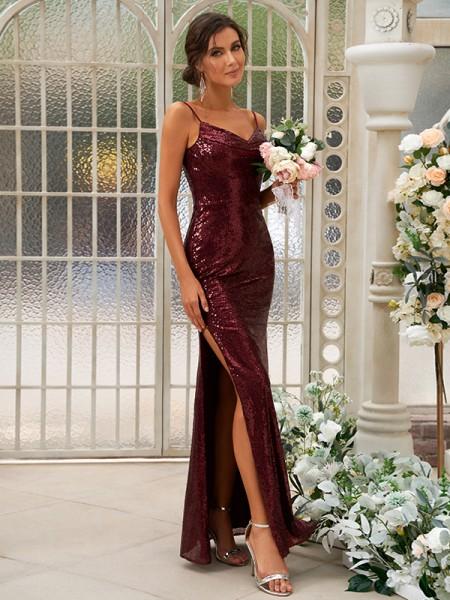 Sheath/Column Sequins Ruched Spaghetti Straps Sleeveless Floor-Length Bridesmaid Dresses