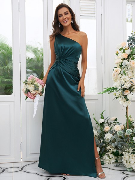 Sheath/Column Elastic Woven Satin Ruched One-Shoulder Sleeveless Floor-Length Bridesmaid Dresses