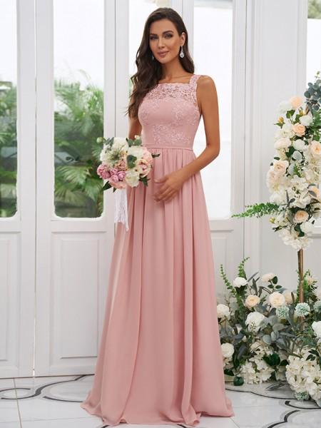 A-Line/Princess Chiffon Applique Square Sleeveless Floor-Length Bridesmaid Dresses