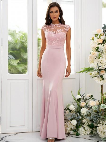 Trumpet/Mermaid Charmeuse Applique High Neck Sleeveless Floor-Length Bridesmaid Dresses