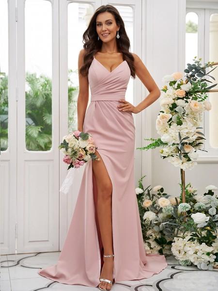 Sheath/Column Stretch Crepe Ruched V-neck Sleeveless Sweep/Brush Train Bridesmaid Dresses