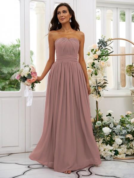 A-Line/Princess Chiffon Ruffles Strapless Sleeveless Floor-Length Bridesmaid Dresses