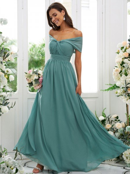 A-Line/Princess Chiffon Ruched Off-the-Shoulder Sleeveless Floor-Length Bridesmaid Dresses