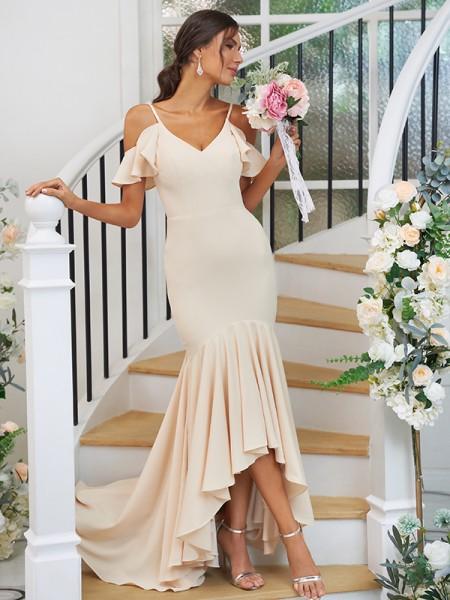 Trumpet/Mermaid Jersey Ruffles V-neck Sleeveless Asymmetrical Bridesmaid Dresses