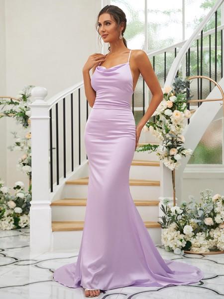 Sheath/Column Charmeuse Ruched Square Sleeveless Sweep/Brush Train Bridesmaid Dresses