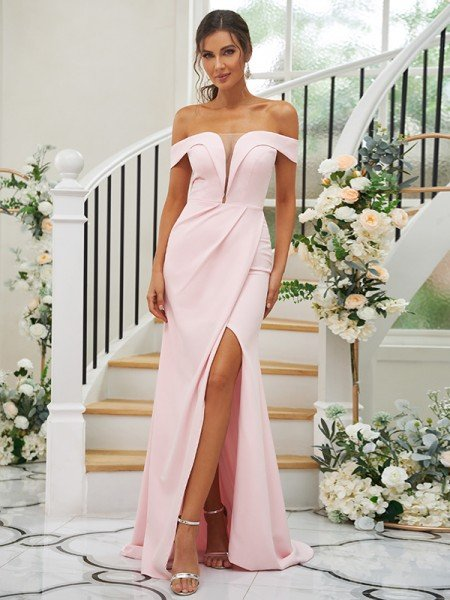 Sheath/Column Stretch Crepe Ruched Off-the-Shoulder Sleeveless Sweep/Brush Train Bridesmaid Dresses