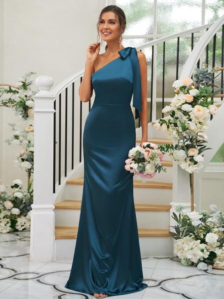 Sheath/Column Silk like Satin Bowknot One-Shoulder Sleeveless Floor-Length Bridesmaid Dresses