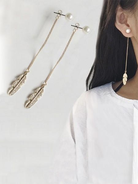Ladies's Vintage Long Chain Leaf With Pearl Earrings