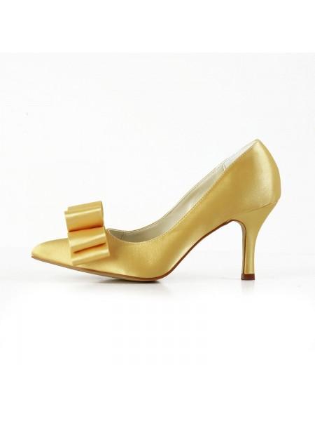 Women's Satin Spool Heel Closed Toe Bowknot Gold Wedding Shoes