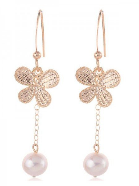 Korean Fancy Pearl With Butterfly Earrings