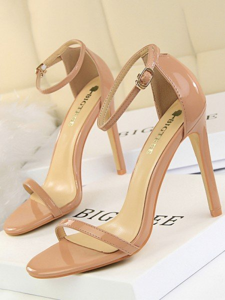 Women's Peep Toe Patent Leather Stiletto Heel Sandals