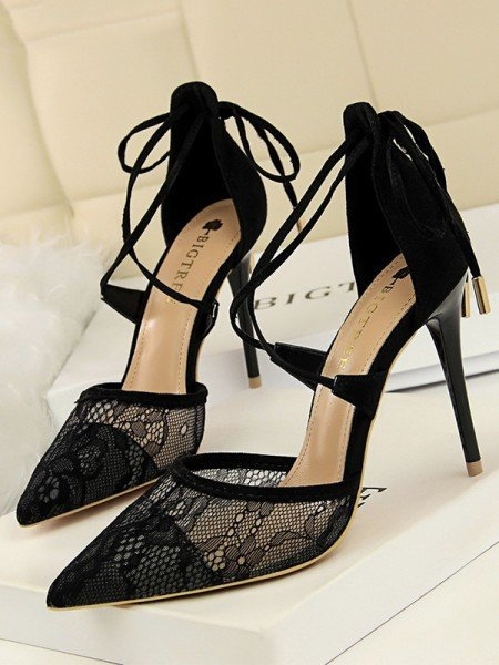 Women's Stiletto Heel Tulle With Lace Closed Toe Sandals
