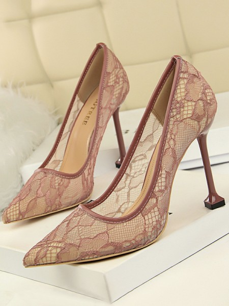 Women's Tulle With Lace Stiletto Heel Closed Toe High Heels