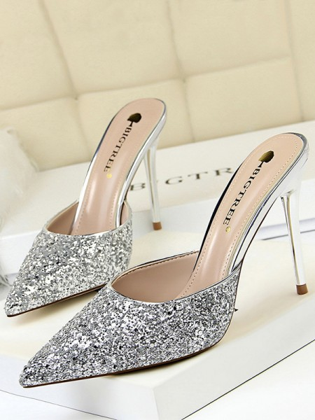 Women's Closed Toe Stiletto Heel Sparkling Glitter Sandals