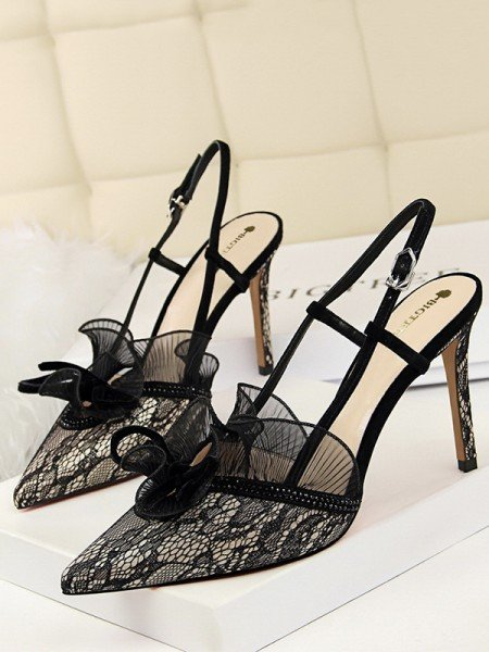 Women's Tulle With Lace Closed Toe Stiletto Heel Sandals