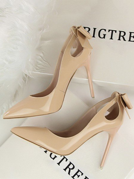 Women's Patent Leather With Bowknot Stiletto Heel Closed Toe High Heels