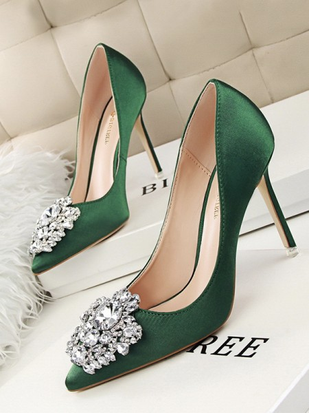 Women's Stiletto Heel Satin With Rhinestone Closed Toe High Heels