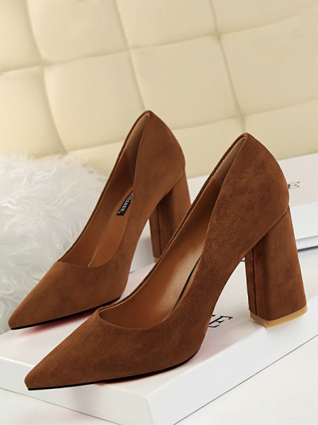 Women's Suede Chunky Heel Closed Toe High Heels