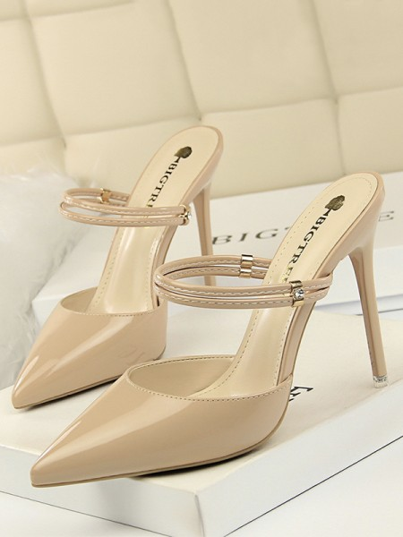Women's PU Closed Toe Stiletto Heel Sandals