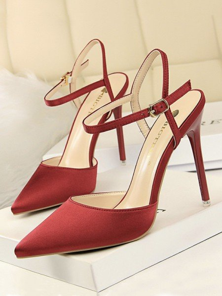 Women's Silk With Buckle Stiletto Heel Closed Toe Sandals