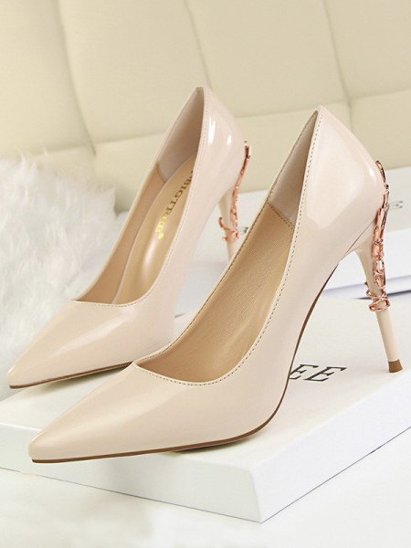 Women's Stiletto Heel Closed Toe Patent Leather High Heels