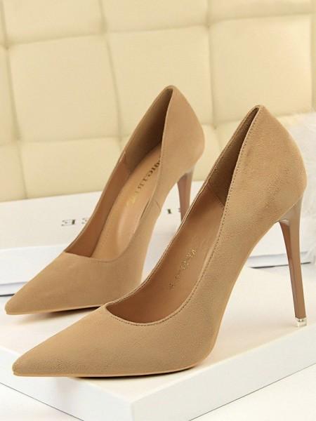 Women's Suede Stiletto Heel Closed Toe High Heels