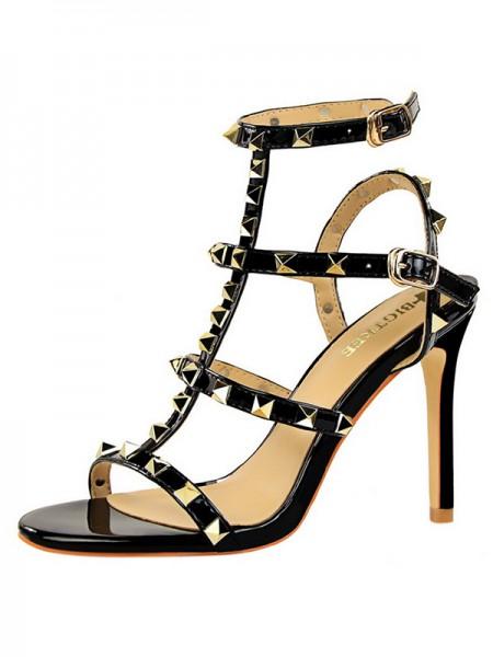 Women's Rivet Stiletto Heel Peep Toe Sandals