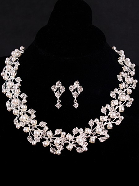 Charming Rhinestone With Pearl Hot Sale Jewelry Set