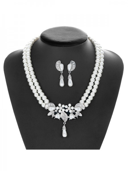 Pretty Alloy With Pearl Jewelry Set For Ladies