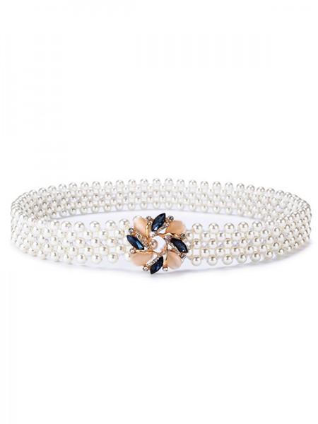 Elegant Elastic Imitation Pearls Sashes With Rhinestones