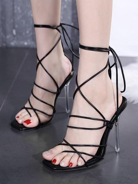 Women's Peep Toe PU Lace-up Stiletto Heel Sandals