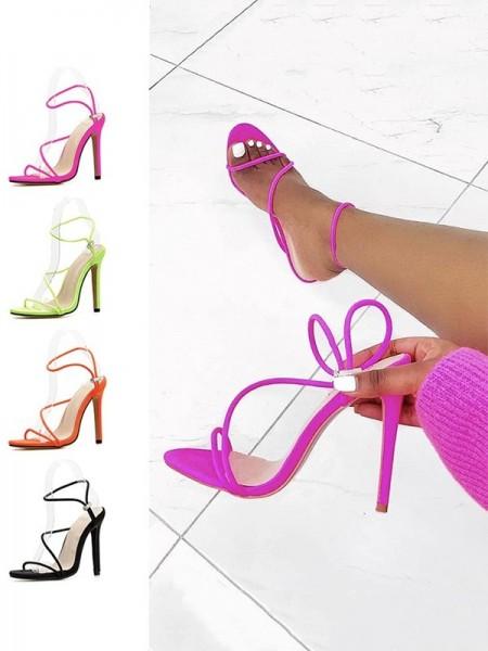 Women's Stiletto Heel Microfiber Peep Toe Sandals