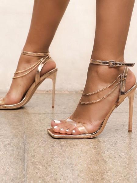 Ladies' Chain Peep Toe Stiletto Heel Sandals
