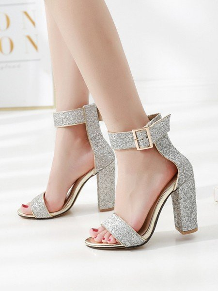 Ladies' Gorgeous Sparkling Glitter Chunky Heel Peep Toe Sandals