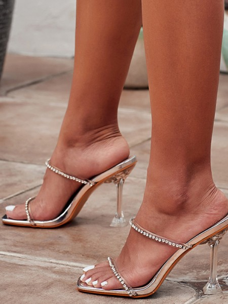 Women's Rhinestone Peep Toe Stiletto Heel Sandals