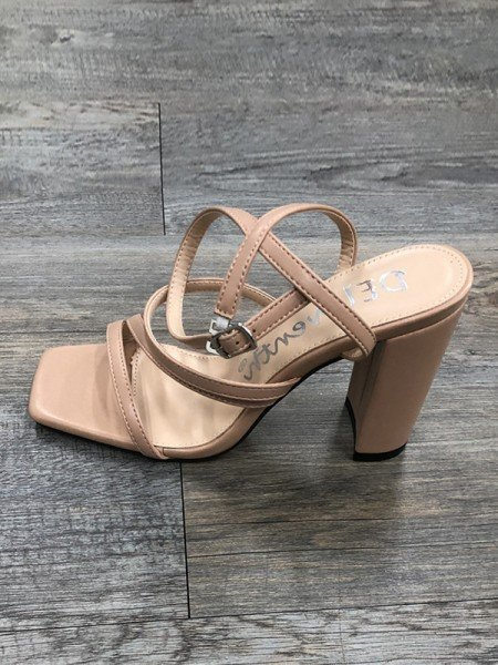 Ladies' Stylish PU Peep Toe Chunky Heel Buckle Sandals