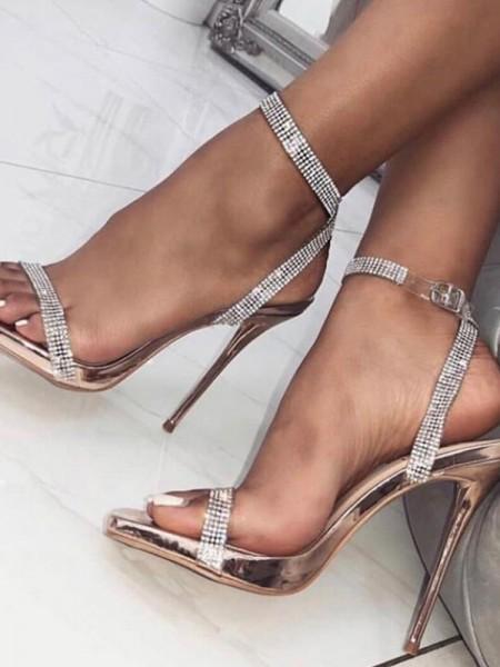 Ladies' Peep Toe Stiletto Heel PU Buckle Sandals