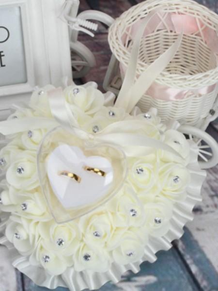 Beautiful Foam Flower With Rhinestone Ring Pillow