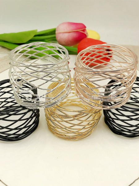 Simple Stainless Steel Napkin Rings(6 Pieces)