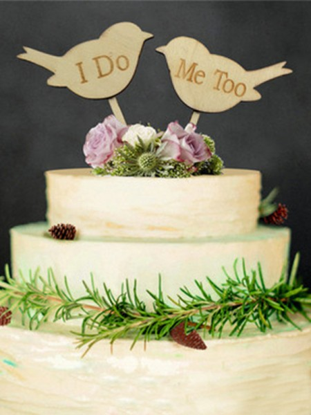 Lovely Wooden Cake Topper(I Do and Me Too)